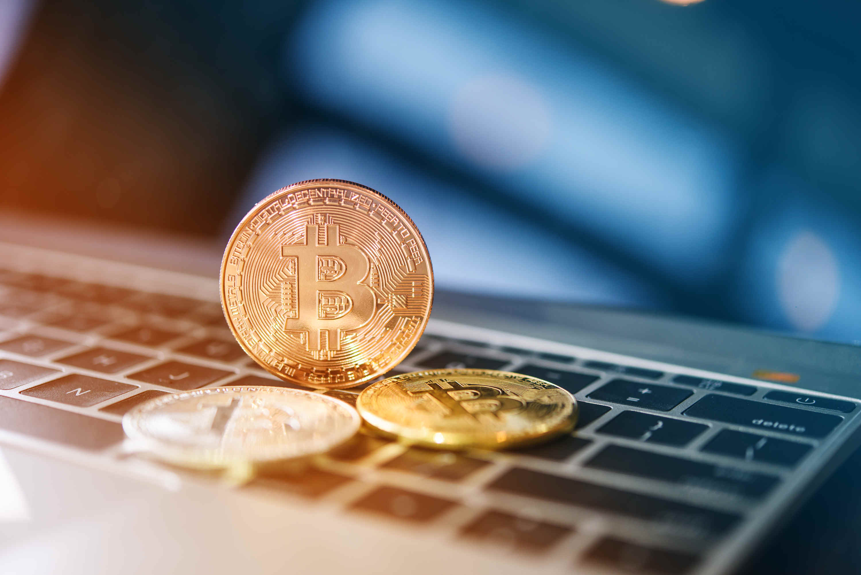 Bitcoin on computer laptop.