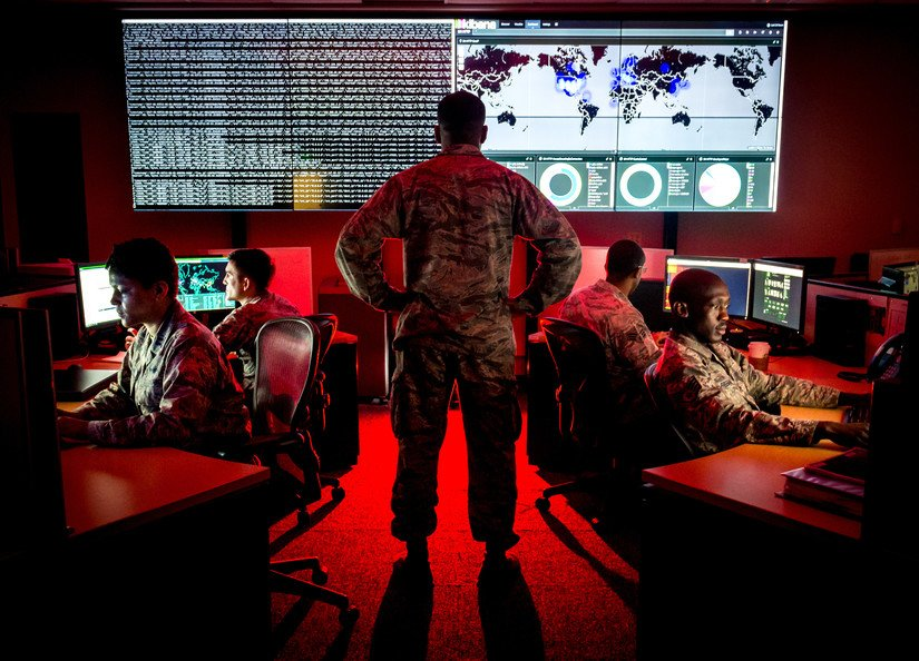 Cyber-warfare specialists serving with the 175th Cyberspace Operations Group of the Maryland Air National Guard engage in weekend training at Warfield Air National Guard Base, Middle River, Md., Jun. 3, 2017. (U.S. Air Force photo by J.M. Eddins Jr.)