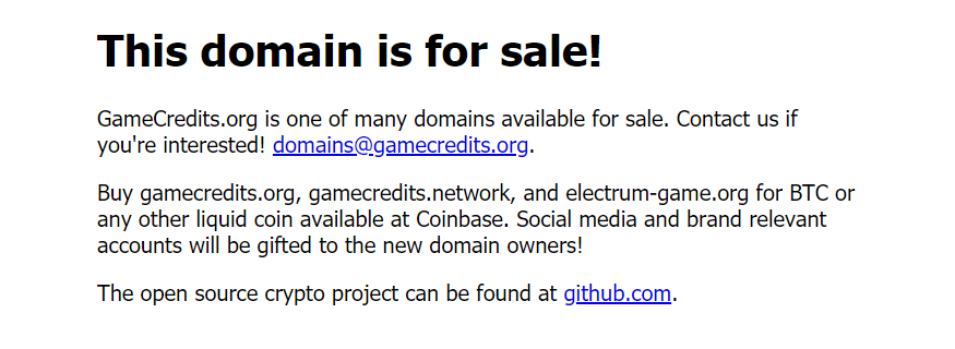 Domain is for sale game credits